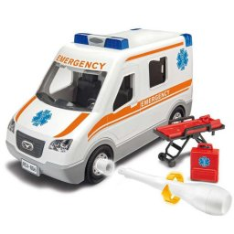 Plastikový model auta Ambulance (1:20) - Junior Kit, šroubovací - Revell 00806