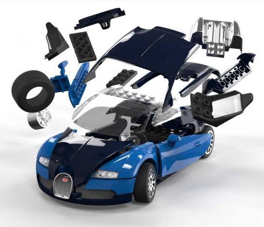 plastikov model auta bugatti veyron quick build zacvak vac jako lego a. Black Bedroom Furniture Sets. Home Design Ideas