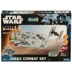 Plastikový model JAKKU COMBAT SET - TIE FIGHTER + MILLENNIUM FALCON - EasyKit Build & Play - zacvakávací se zvukem - Revell Star Wars 06758