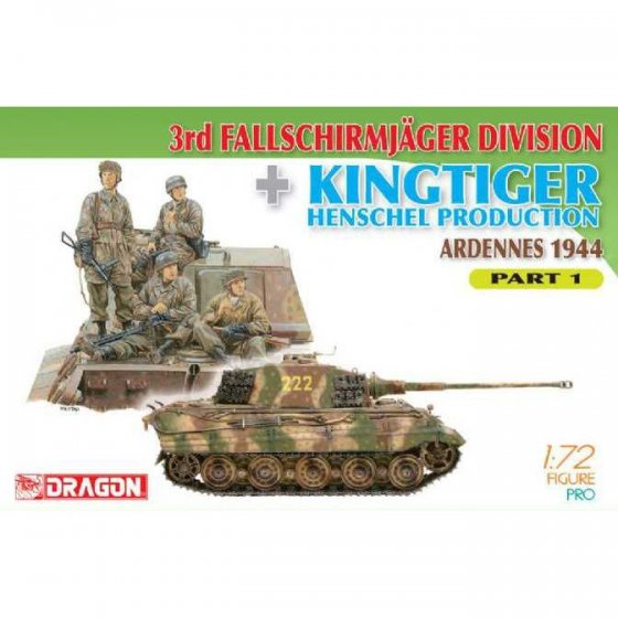 Plastikový model vozidla 3rd Fallschirmjager Division + Kingtiger Henschel Production (Ardennes 1944) Part 1 (1:72) - Dragon 7361