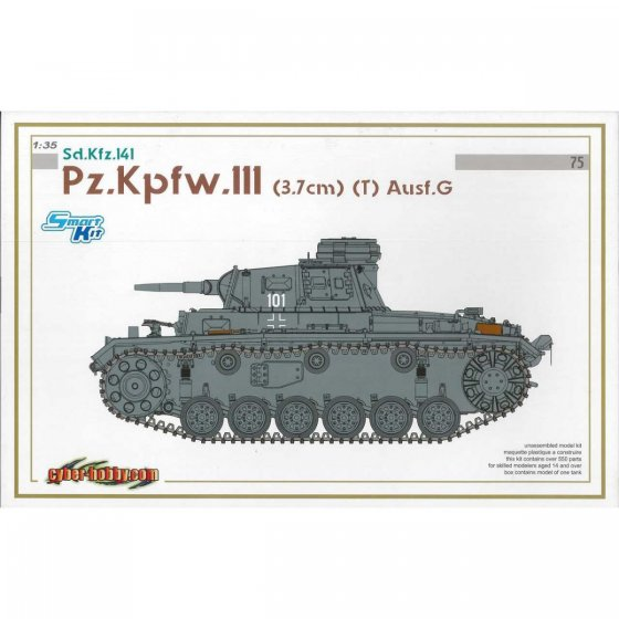 Plastikový model tanku Pz.Kpfw.III (3.7cm) (T) Ausf.G (SMART KIT) (1:35) - Dragon 6765